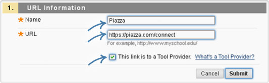 Fill out the form for Piazza URL